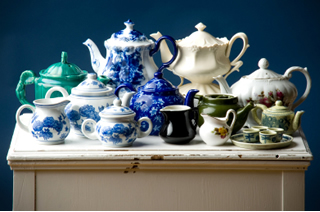 tea pot collection - antiques and collectables - restored antiques