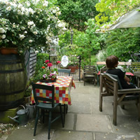 tea shop gardens with picnic tables